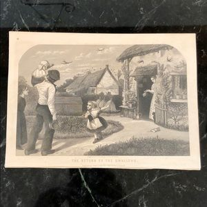 "Return of the Swallows 5.5"" x 7.75"" Antique Print"